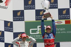 Luiz Razia celebrates winning his first GP2 Asia race on the podium with Jerome D'Ambrosio and David