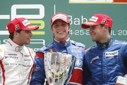 Luiz Razia celebrates his first GP2 Asia victory on the podium with Jerome D'Ambrosio and Davide Rig