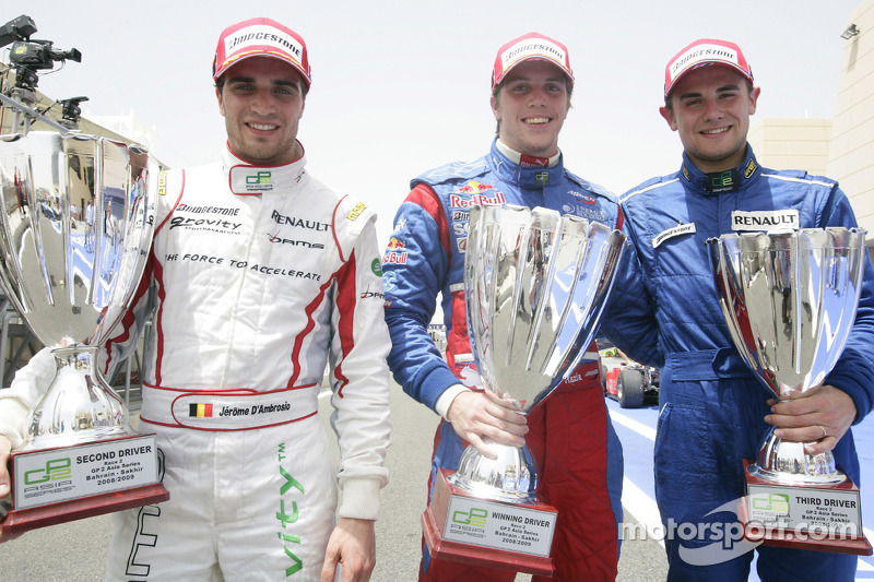 Luiz Razia celebrates winning his first GP2 Asia race with Jerome D'Ambrosio and Davide Rigon