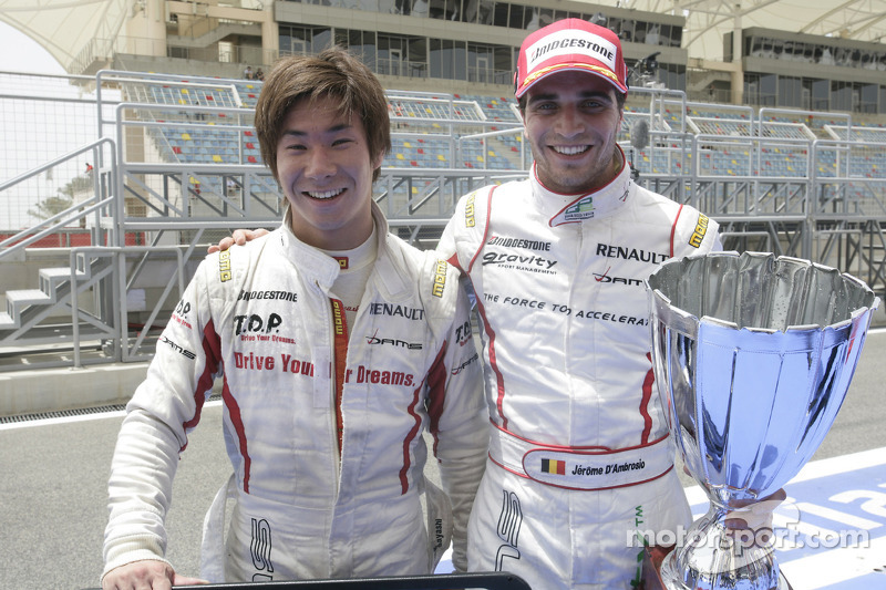 Kamui Kobayashi and Jerome D'Ambrosio celebrate gaining first and second positions in the 2009 GP2 A