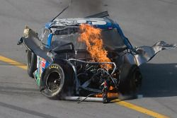 Carl Edwards, Roush Fenway Racing Ford, comes to rest after his crash