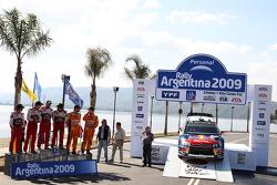 Podium: winners Sébastien Loeb and Daniel Elena, Citroen C4, Citroen Total World Rally Team, second place Daniel Sordo and Marc Marti, Citroen C4 Citroen Total World Rally Team, third place Henning Solberg and Cato Menkerud, Ford Focus RS WRC 08, Stobart