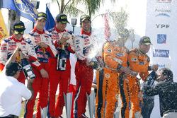 Podium: winners Sébastien Loeb and Daniel Elena, Citroen C4, champagne celebrations