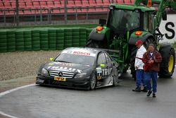 Ralf Schumacher, Team HWA AMG Mercedes C-Klasse, ready to continue after a trip in the gravel