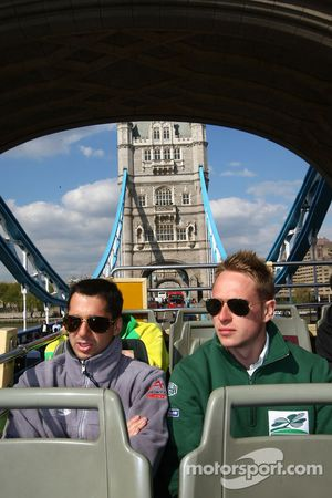 Neel Jani, driver of A1 Team Switzerland and Adam Carroll, driver of A1 Team Ireland take a tour of