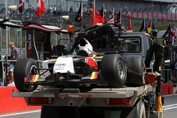 Michael Ammermuller, driver of A1 Team Germany crashes on track