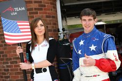 Grid girl and J. R. Hildebrand, driver of A1 Team USA