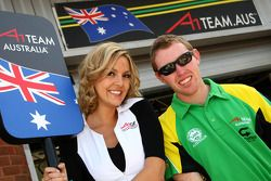 Grid girl and John Martin, driver of A1 Team Australia