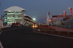 Pitlane exit in the evening
