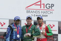 Narain Karthikeyan, driver of A1 Team India, Adam Carroll, driver of A1 Team Ireland and Salvador Duran, driver of A1 Team Mexico