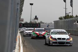 Jorg Muller, BMW Team Germany, BMW 320si, Mehdi Bennani, Exagon Engineering, Seat Leon 2.0 et Andy Priaulx, BMW Team UK, BMW 320si