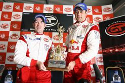 GT1 and overall winners Karl Wendlinger and Ryan Sharp with the Tourist Trophy