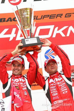 GT500 podium: winners Satoshi Motoyama and Benoit Treluyer