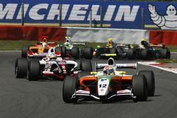 First lap, #12 International Draco Racing: Marco Barba, #2 Tech 1 Racing: Charles Pic