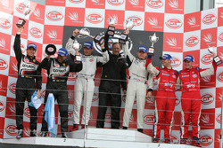 GT2 podium: class winners Emmanuel Collard and Richard Westbrook, second place Luis Perez Companc and Matias Russo, third place Andrew Kirkaldy and Rob Bell