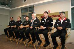 Helio Castroneves, Ryan Briscoe, Will Power, Roger Penske, Tim Cendric and Rick Mears, Team Penske