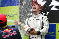 Podium: race winner Jenson Button, Brawn GP