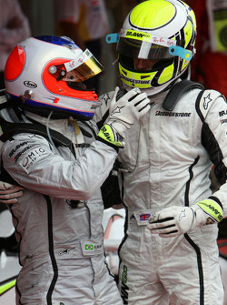 Race winner Jenson Button, Brawn GP with second place Rubens Barrichello, Brawn GP