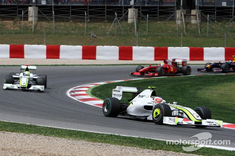 Rubens Barrichello, Brawn GP leads Jenson Button, Brawn GP