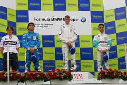 Podium, Luiz Felipe Nasr, Eurointernational, Michael Christensen, Muecke Motorsport and Jazeman Jaaf