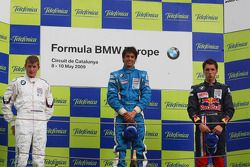 Podium, Michael Christensen, Muecke Motorsport, Luiz Felipe Nasr, Eurointernational et Daniel Juncadella, Eurointernational
