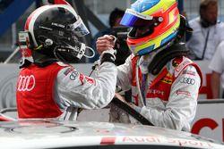 Le vainqueur de la course, Tom Kristensen, Audi Sport Team Abt célèbre cette victoire avec Oliver Ja