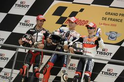 Podium: race winner Jorge Lorenzo, Fiat Yamaha Team, second place Marco Melandri, Hayate Racing Team