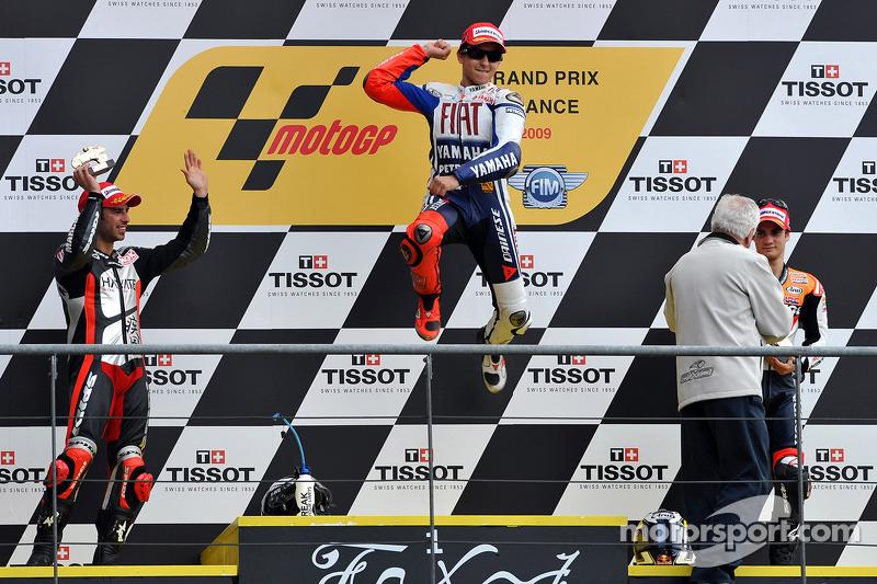Podio: 1º Jorge Lorenzo, 2º Marco Melandri, 3º Dani Pedrosa