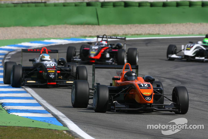 Alexandre Marsoin, SG Formula, Dallara F308 Mercedes, leads Christopher Zanella, Motopark Academy, D