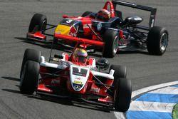 Jules Bianchi, ART Grand Prix, Dallara F308 Mercedes, leads Mika Mäki, Signature, Dallara F308 Volkswagen