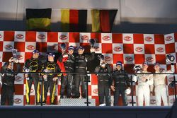 GT1 podium: class and overal winners Michael Bartels and Andrea Bertolini, second place Mike Hezeman