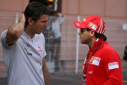 Pedro de la Rosa, testrijder McLaren Mercedes met Felipe Massa, Scuderia Ferrari