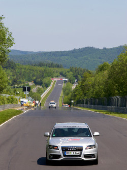 Drivers parade around the track: Audi safety vehicle on track