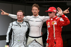 Jenson Button, Brawn GP, gets pole position, Rubens Barrichello, Brawn GP 2nd and Kimi Raikkonen, Scuderia Ferrari 3rd