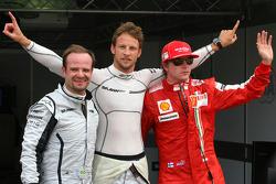 Rubens Barrichello, Brawn GP, Jenson Button, Brawn GP and Kimi Raikkonen, Scuderia Ferrari