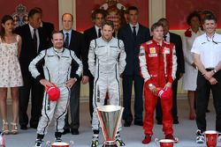 1st place Jenson Button, Brawn GP with 2nd place Rubens Barrichello, Brawn GP and 3rd place Kimi Raikkonen, Scuderia Ferrari