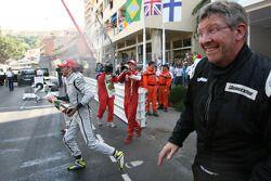 Jenson Button, Brawn GP y Ross Brawn Team Principal, Brawn GP
