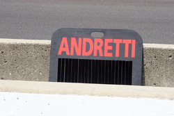 An Andretti pit board sits ready for the race