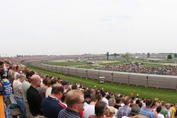 Le massif virage trois, le petit dévers, le virage 4 du Indianapolis Motor Speedway