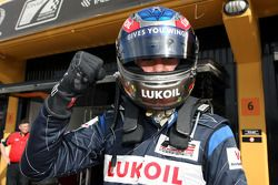Robert Wickens celebrates taking pole position for race one