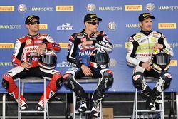 Le vainqueur Ben Spies, seconde place Carlos Checa, troisième place Michel Fabrizio