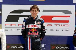 Race winner Robert Wickens on the podium