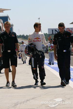Sebastian Vettel, Red Bull Racing avec Guillaume Rocquelin, Red Bull Racing, l'ingénieur de course de Sebastian Vettel