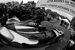 #3 Audi Sport North America Audi R15 TDI enters the scrutineering area