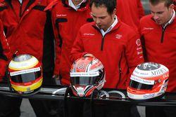 Helmets of Timo Bernhard, Romain Dumas and Alexandre Prémat
