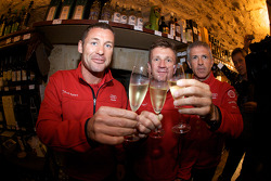 Hand imprint ceremony: 2008 winners Tom Kristensen, Allan McNish and Rinaldo Capello toast with cham