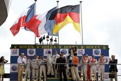 LMP1 podium: class and overall winners Alexander Wurz, David Brabham and Marc Gene, second place Sté