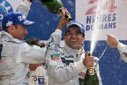 LMP1 podium: Stéphane Sarrazin and Marc Gene celebrate with champagne