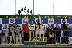LMP2 podium: class winners Kristian Poulsen, Casper Elgaard and Emmanuel Collard, second place Xavier Pompidou, Benjamin Leuenberger and Jonny Kane, third place Jacques Nicolet, Richard Hein and Jean-François Yvon