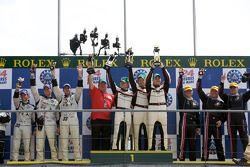LMP2 podium: class winners Kristian Poulsen, Casper Elgaard and Emmanuel Collard, second place Xavie